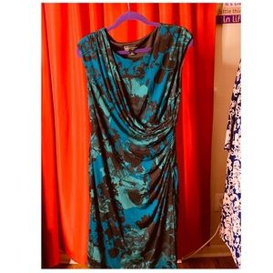 Green and Blue Floral dress rouched on the side